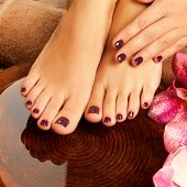 stock photo of foot  - Closeup photo of a female feet at spa salon on pedicure procedure - JPG