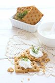 Flat Gluten Free Bread With Cream Cheese And Dill Topping