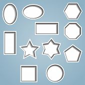 picture of octagon shape  - Set of 11 shapes with cut out effect showing shadow beneath.