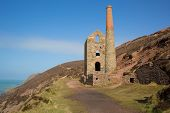 Cornish tin mine near St Agnes Beacon Cornwall on the South West Coast Path known as Wheal Coates
