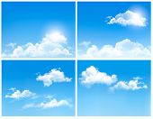 Collection of backgrounds with blue sky and clouds. Vector backgrounds.