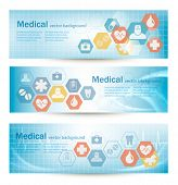 picture of ambulance  - Three medical banners with flat icons - JPG