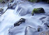 Closeup of soft waterfall cascading over rocks