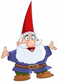 stock photo of  midget elves  - Happy gnome raising his arms - JPG