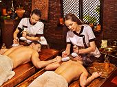 Couple  having oil Ayurveda spa treatment.
