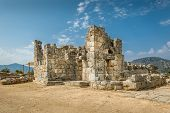 stock photo of dalyan  - Ruins of Kaunos ancient city in Dalyan valley - JPG