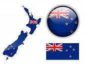 New Zealand flag, map and glossy