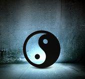 Conceptual image with big yin yang sign