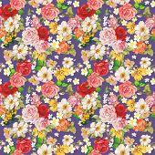 Seamless vintage romantic pattern. Beautiful flower illustration texture