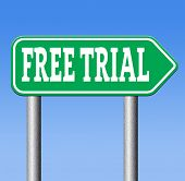 free trial test sample road sign. Product promotion or advert membership or product promotion