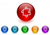 puzzle internet icons colorful set