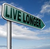 live longer sign or icon. Living healthy and stress free helps longevity and a life in good health
