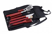 Set of tools for bbq in black bag. Isolated on a white backgropund