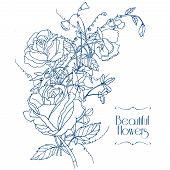 Vintage flowers sketch