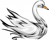 Illustration Featuring a Swan with its Wings Spread Wide