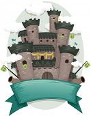 Banner Illustration with a Medieval Castle in the Background