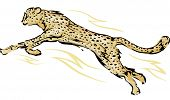 Illustration Featuring a Cheetah in the Middle of a Leap