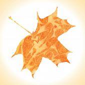 Watercolor autumn orange maple leaf. Vector illustration