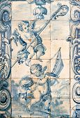 Angels appearing in an ancient Portuguese tilework