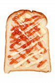 bread toast with strawberry jam
