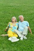 Beautiful old couple in field