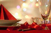 Christmas table with dishware