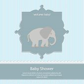 baby shower card, for baby boy,blue stripe background with elephant.