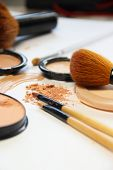 Broken Powder, Foundation And Brushes
