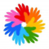 Halftone Colorful Hand Print icon