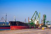 Big Industrial Cargo Ship Is Loading In Port Of Varna