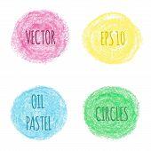 Oil pastel round design elements.