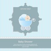 baby shower card, for baby boy,blue stripe background with stroller