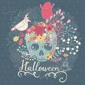 Stylish Halloween card in vector. Cute holiday composition with scull, bird, ghost and flowers in vintage style