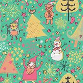 Christmas and New Year background with fir tree, Santa, Snowman, Penguin and funny bear in warm colo