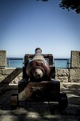 Military, Spanish cannon pointing out to sea fortress