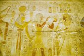 Hathor, Seti and Osiris wall painting