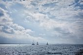 stock photo of safe haven  - Yachts sailing in the Saronic Gulf Greece