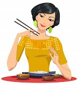 beautiful girl eats with chopsticks