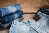 stock photo of jeans skirt  - In the picture we can see blue jeans and their various parts and components and many details - JPG