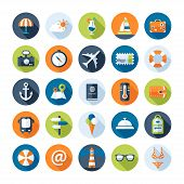 Set of travel flat design icons with long shadows