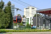 WROCLAW, POLAND - SEPTEMBER 6: A cable railway connecting the buildings of the Technical University in two banks of the Oder river on 6 September 2014 in Wroclaw, Poland.