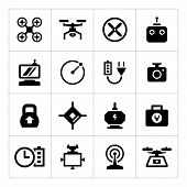 Set Icons Of Quadrocopter, Hexacopter, Multicopter And Drone