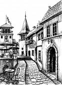 Old peaceful city drawing, restaurant  terrace sketch