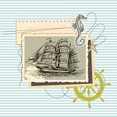 Summer memories, old ship photo and marine elements, retro scrapbook background