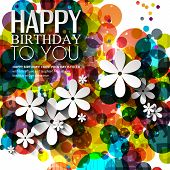 Vector birthday card with flowers in bright colors on polka dots background.