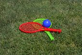 Racket And Ball On Green Grass