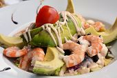 Healthy Green Mixed Salad With Cooked Shrimp And Avocado