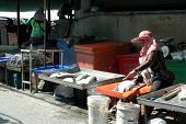 Fishmonger Preparing Silver Perch