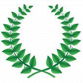 Green laurel wreath isolated, vector