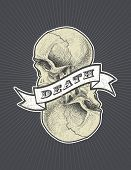 Vector background with skull, ribbon and death inscription. Halloween background. Eps8